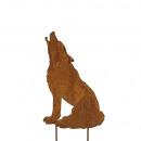 Metal plug 'crying wolf', height 40cm widt